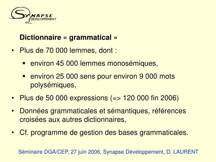 Dictionnaire «grammatical»