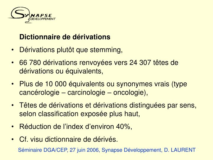 Dictionnaire de dérivations
