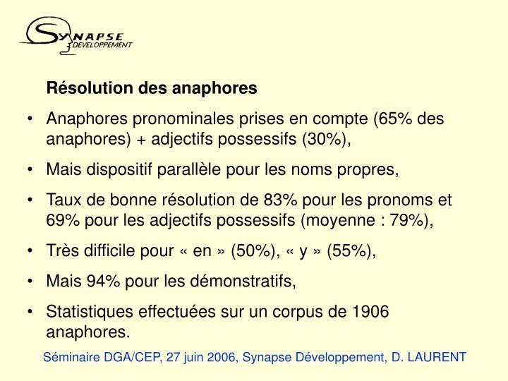 Résolution des anaphores