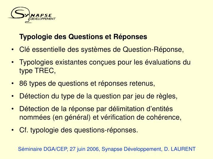 Typologie des Questions et Réponses