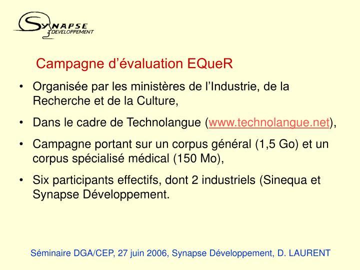 Campagne d'évaluation EQueR