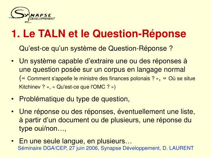 1. Le TALN et le Question-Réponse