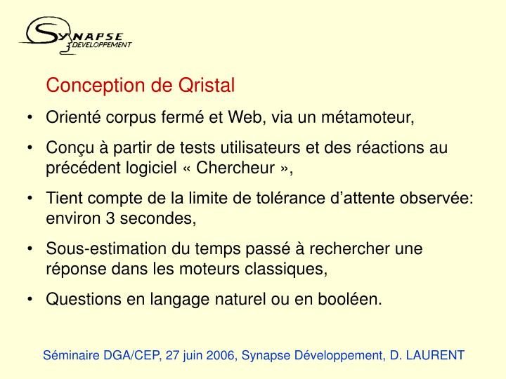 Conception de Qristal