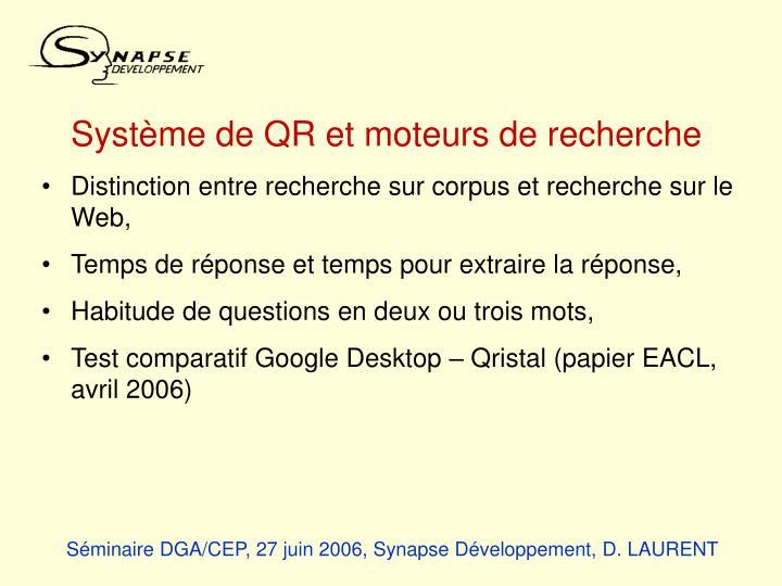 Système de QR et moteurs de recherche
