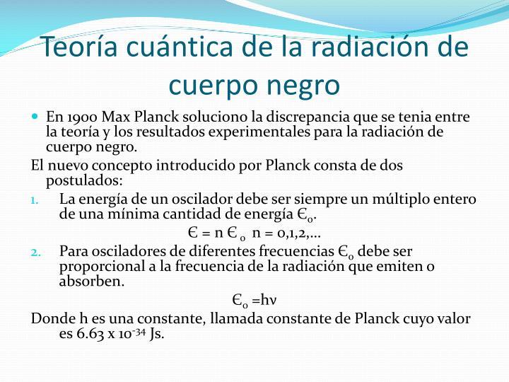 Teoría cuántica de la radiación de cuerpo negro