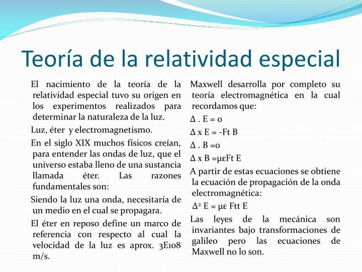 Teoría de la relatividad especial