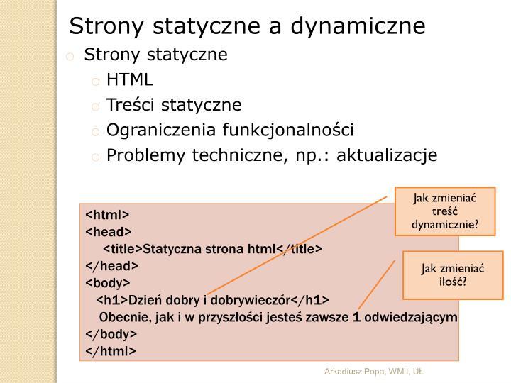Strony statyczne a dynamiczne