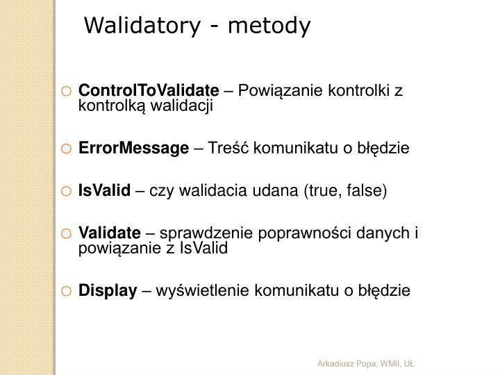 Walidatory - metody