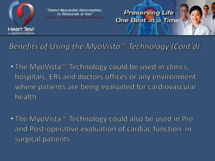 Benefits of Using the MyoVista™ Technology (Cont'd)