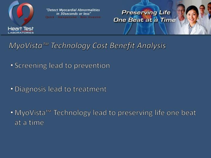 MyoVista™ Technology Cost Benefit Analysis
