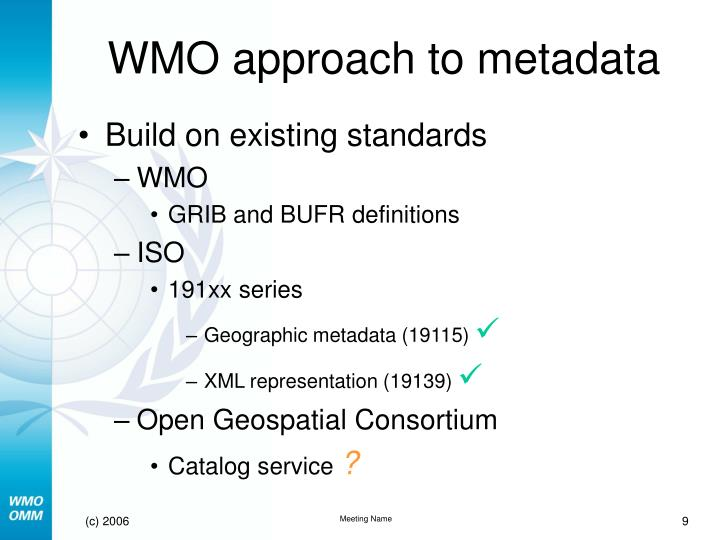 WMO approach to metadata