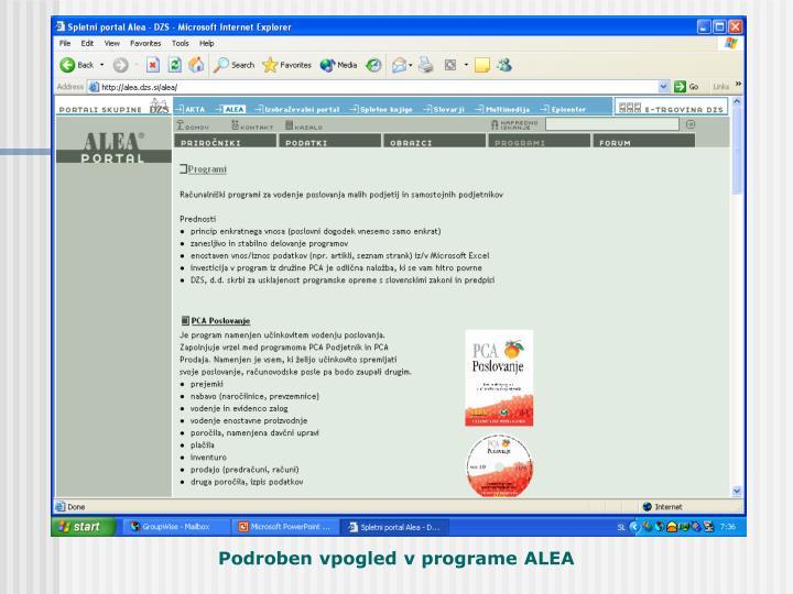 Podroben vpogled v računalniške programe ALEA