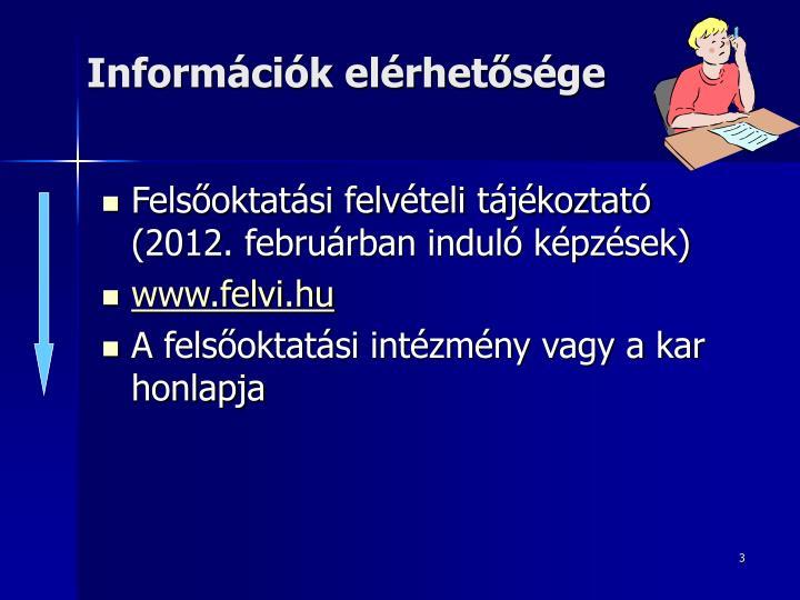 Információk elérhetősége