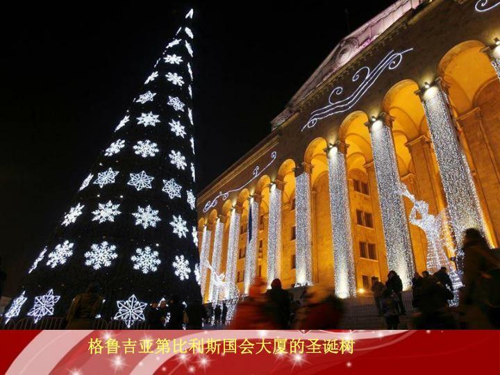 格鲁吉亚第比利斯国会大厦的圣诞树