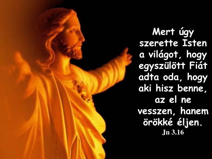 Mert gy szerette Isten a vilgot, hogy egyszltt Fit adta oda, hogy aki hisz benne, az el ne vesszen, hanem rkk ljen.