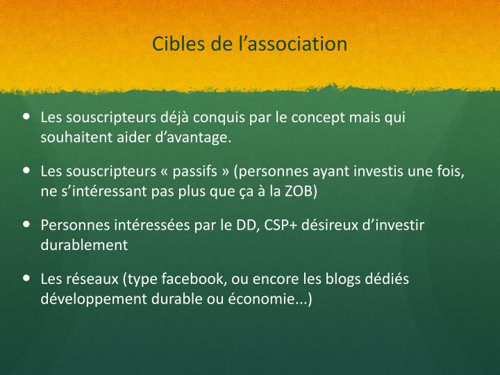 Cibles de l'association