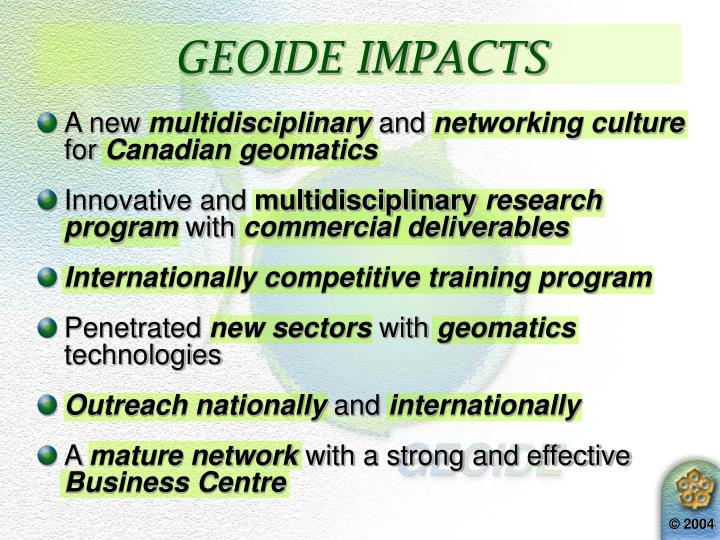 GEOIDE IMPACTS