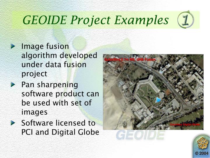 Image fusion algorithm developed under data fusion project