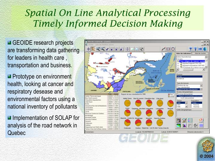 Spatial On Line Analytical Processing