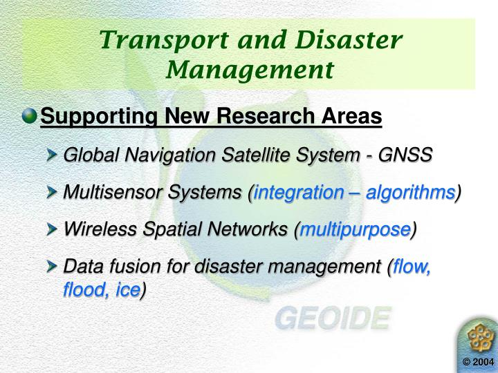 Transport and Disaster Management