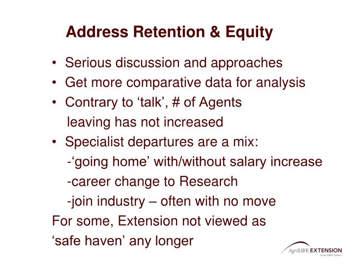 Address Retention & Equity