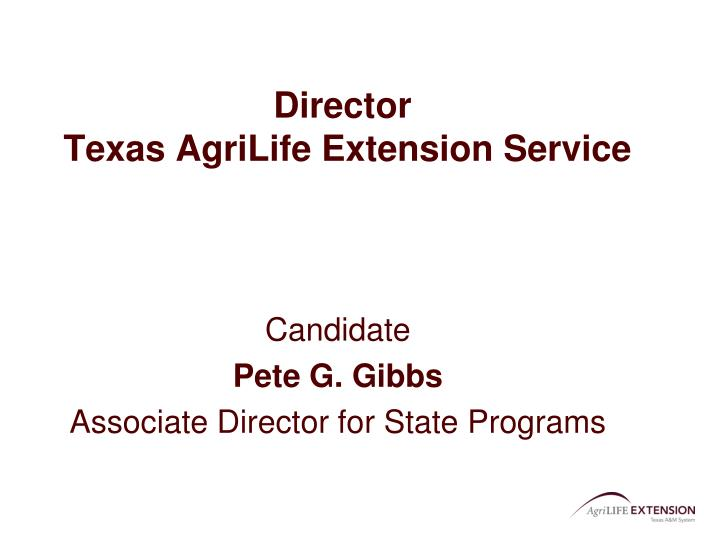 Director texas agrilife extension service
