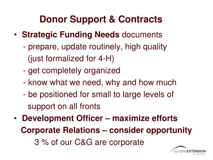 Donor Support & Contracts