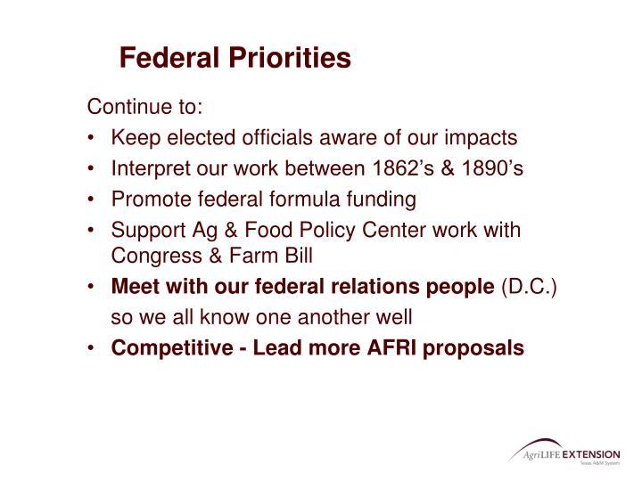 Federal Priorities