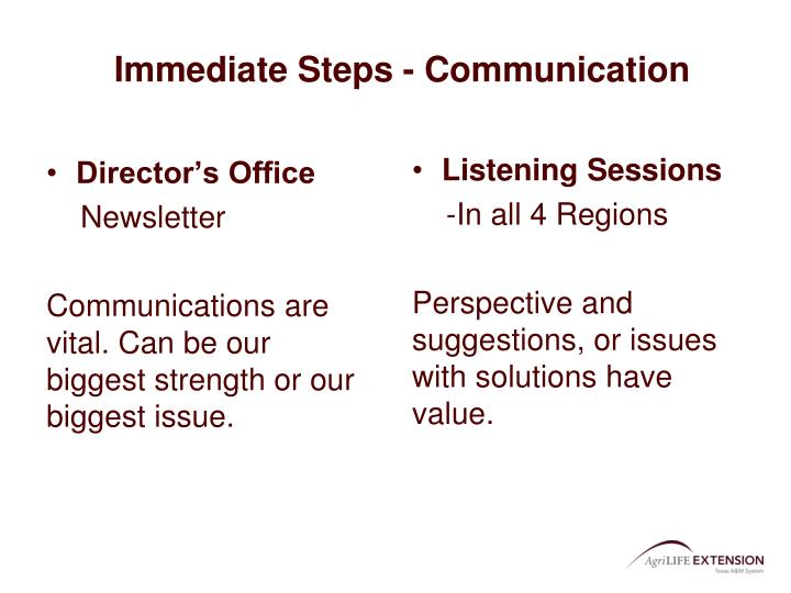 Immediate Steps - Communication