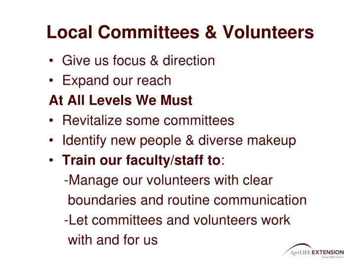 Local Committees & Volunteers
