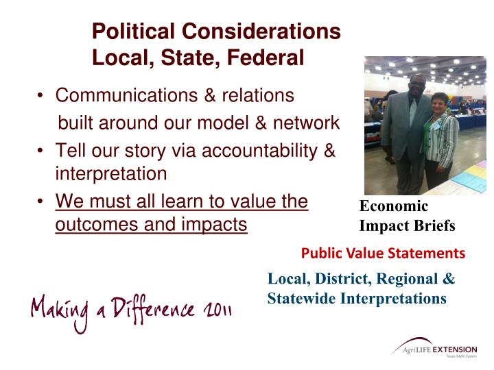 Political Considerations           Local, State, Federal