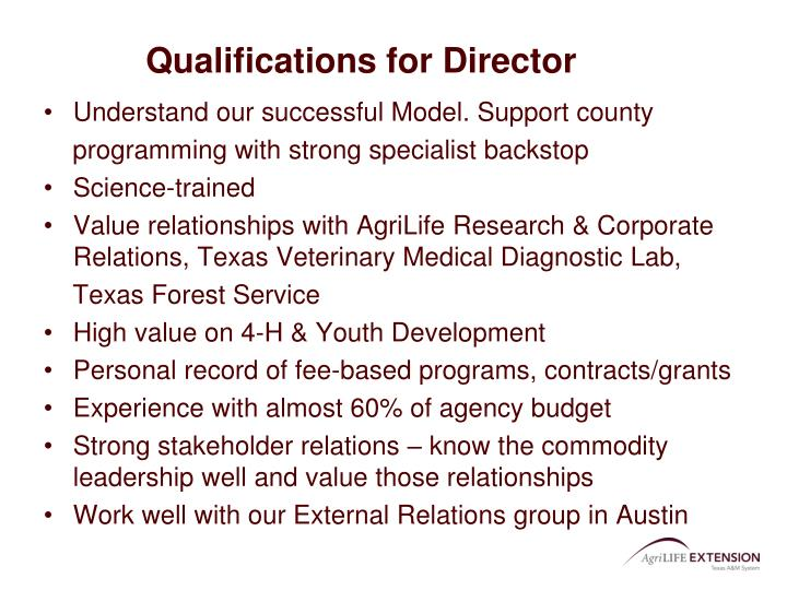 Qualifications for Director