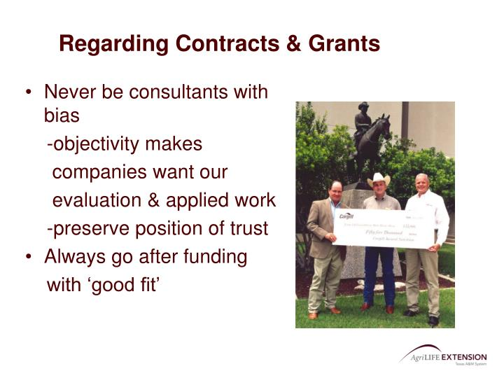 Regarding Contracts & Grants