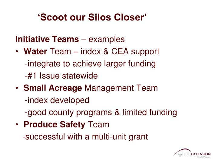 'Scoot our Silos Closer'