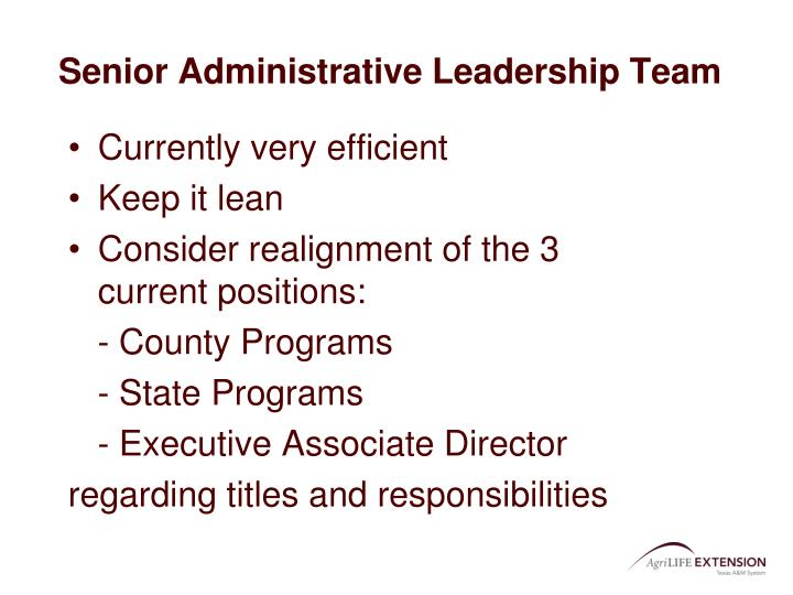 Senior Administrative Leadership Team