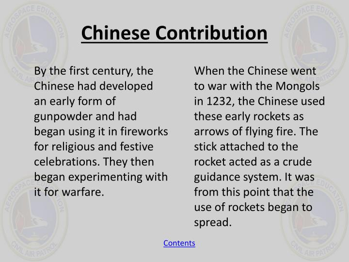 Chinese Contribution