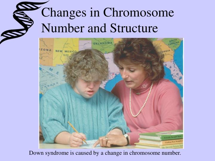 Down syndrome is caused by a change in chromosome number.