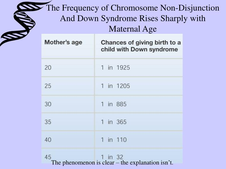 The Frequency of Chromosome Non-Disjunction And Down Syndrome Rises Sharply with Maternal Age