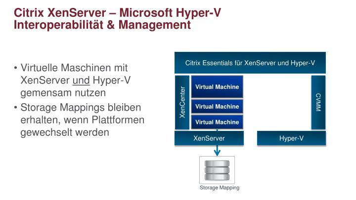 Citrix XenServer – Microsoft Hyper-V