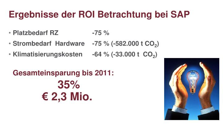 Ergebnisse der ROI Betrachtung bei SAP