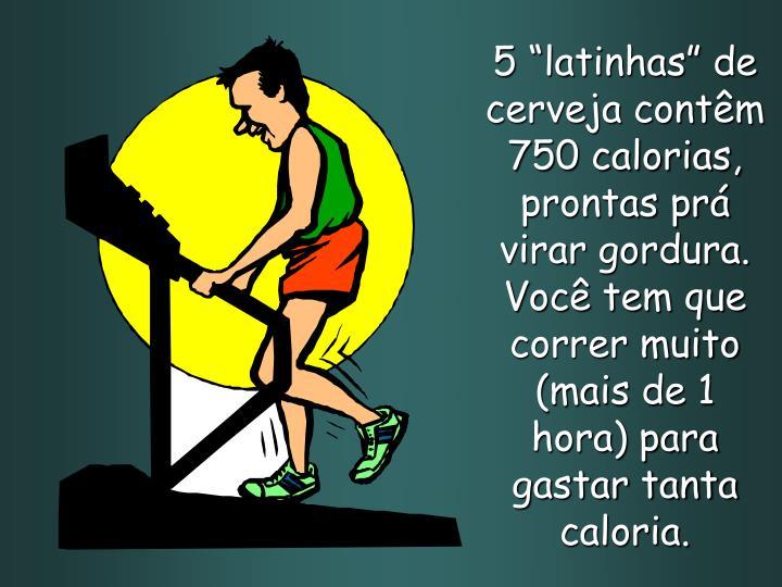 """5 """"latinhas"""" de cerveja contêm 750 calorias, prontas prá virar gordura. Você tem que correr muito (mais de 1 hora) para gastar tanta caloria."""