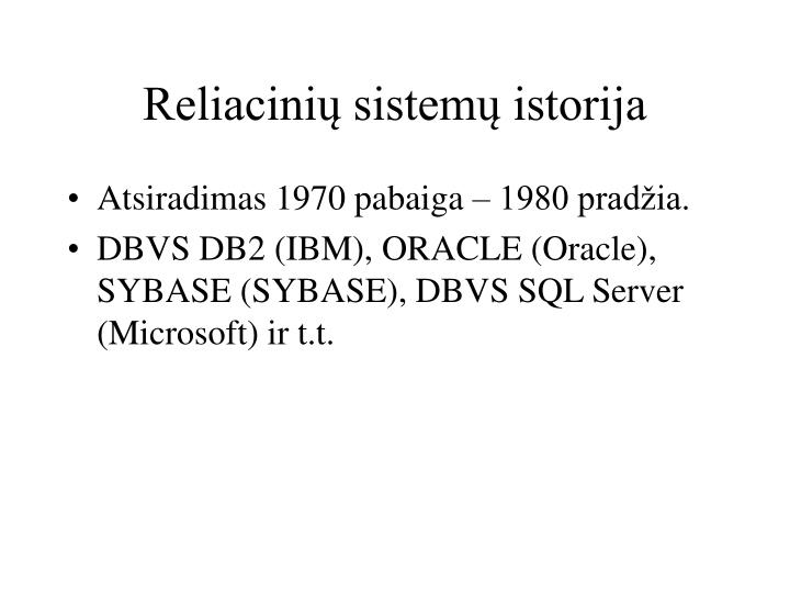 Reliacinių sistemų istorija
