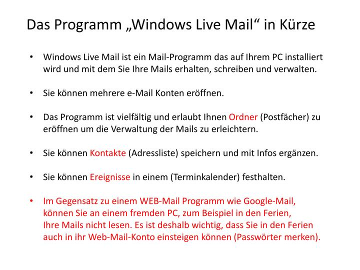 "Das Programm ""Windows Live Mail"