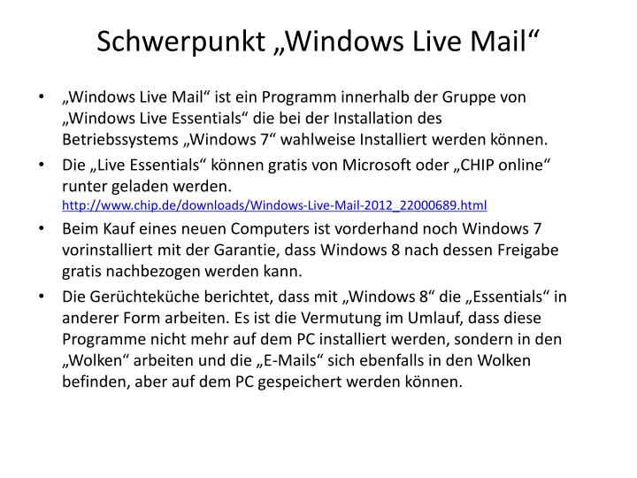 "Schwerpunkt ""Windows Live Mail"