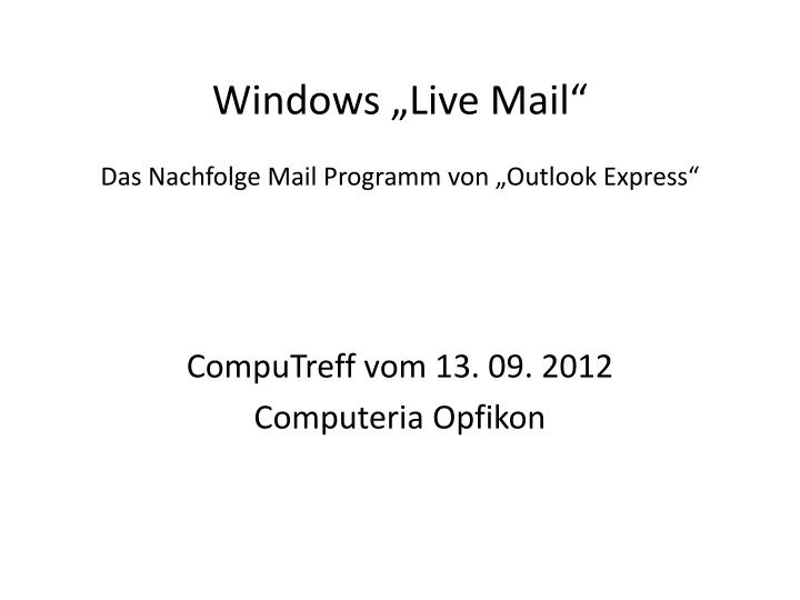 "Windows ""Live Mail"