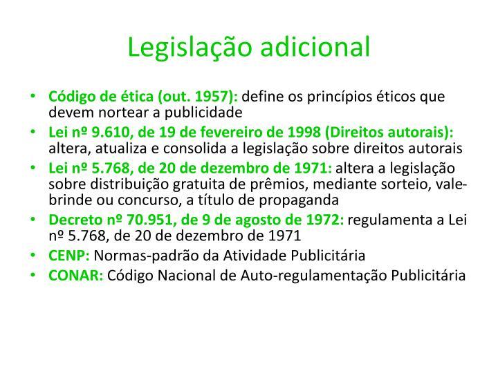 Legislação adicional