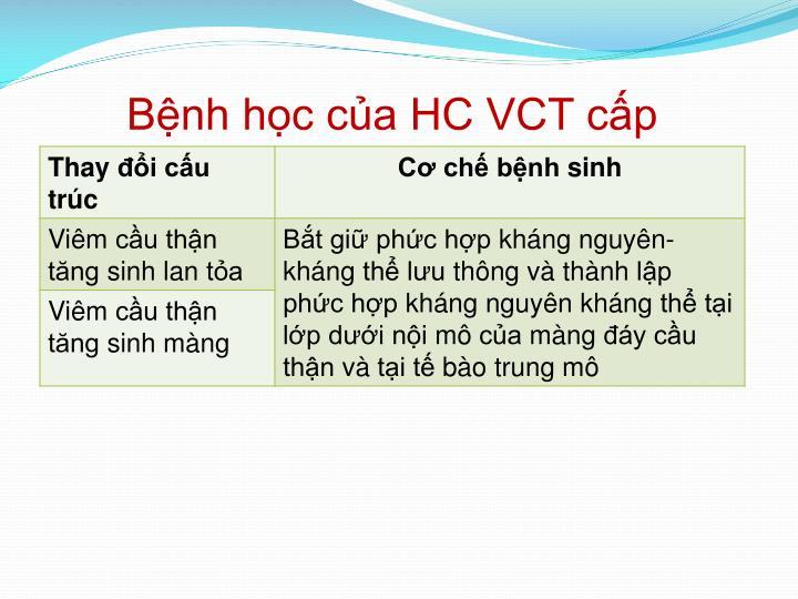 Bệnh học của HC VCT cấp