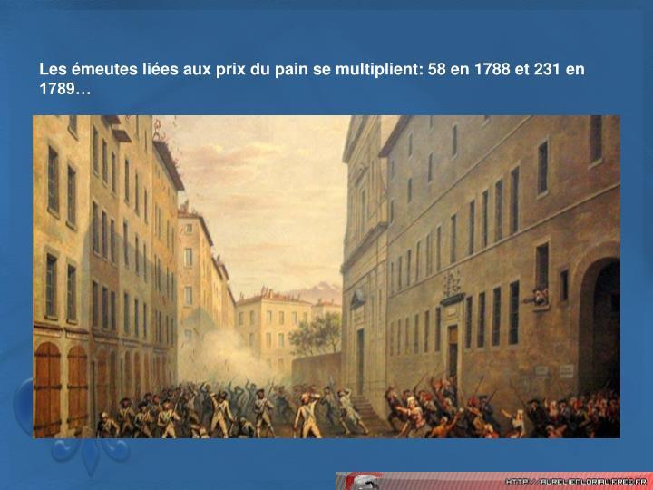Les meutes lies aux prix du pain se multiplient: 58 en 1788 et 231 en 1789