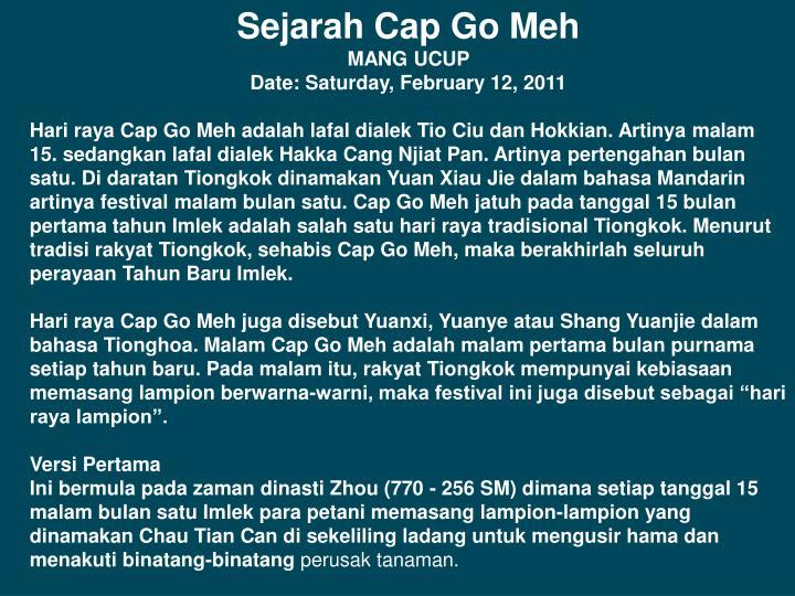 Sejarah Cap Go Meh