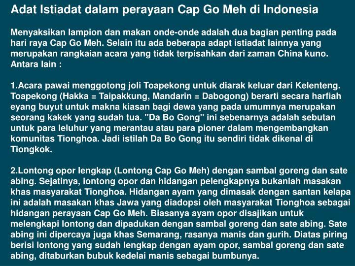 Adat Istiadat dalam perayaan Cap Go Meh di Indonesia